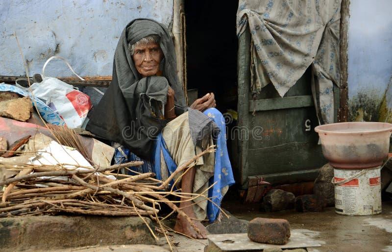 可怜的老印地安夫人 库存照片