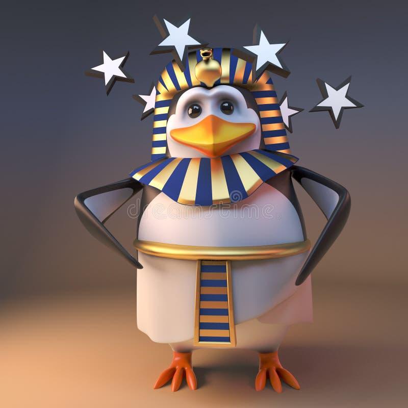 可怜的3d企鹅法老王Tutankhamun是头昏眼花的与在他的眼睛的星,3d例证 向量例证
