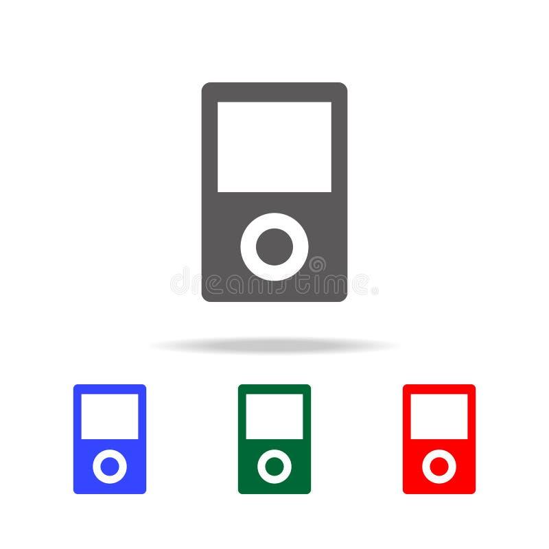 可携式媒体播放器象 在多色的象的元素流动概念和网apps的 网站设计和developm的象 库存例证