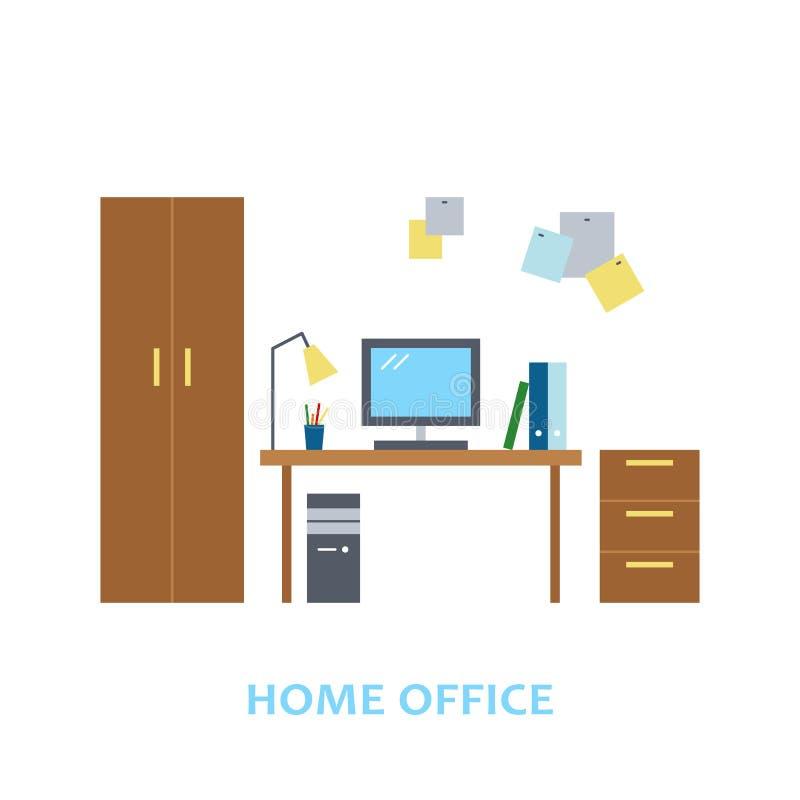 可爱和五颜六色的时髦平的样式的传染媒介内部家庭办公室设计室 现代家庭装饰 minimalistic 向量例证