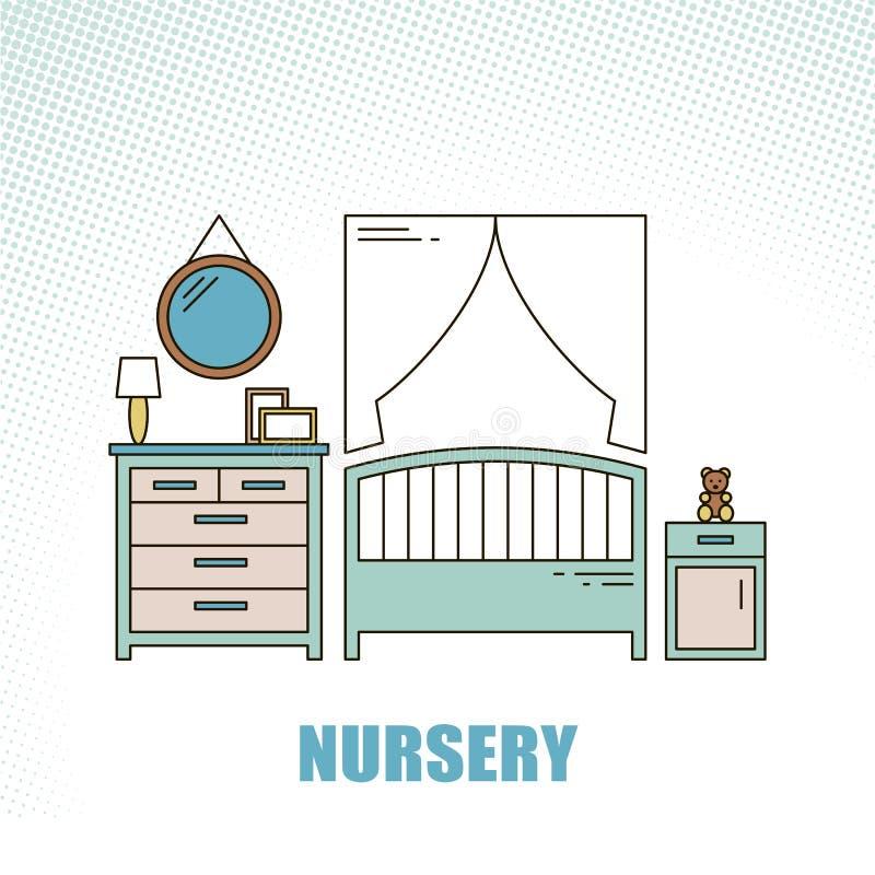 可爱和五颜六色的时髦的线型传染媒介内部托儿所设计室 现代家庭装饰 minimalistic 库存例证
