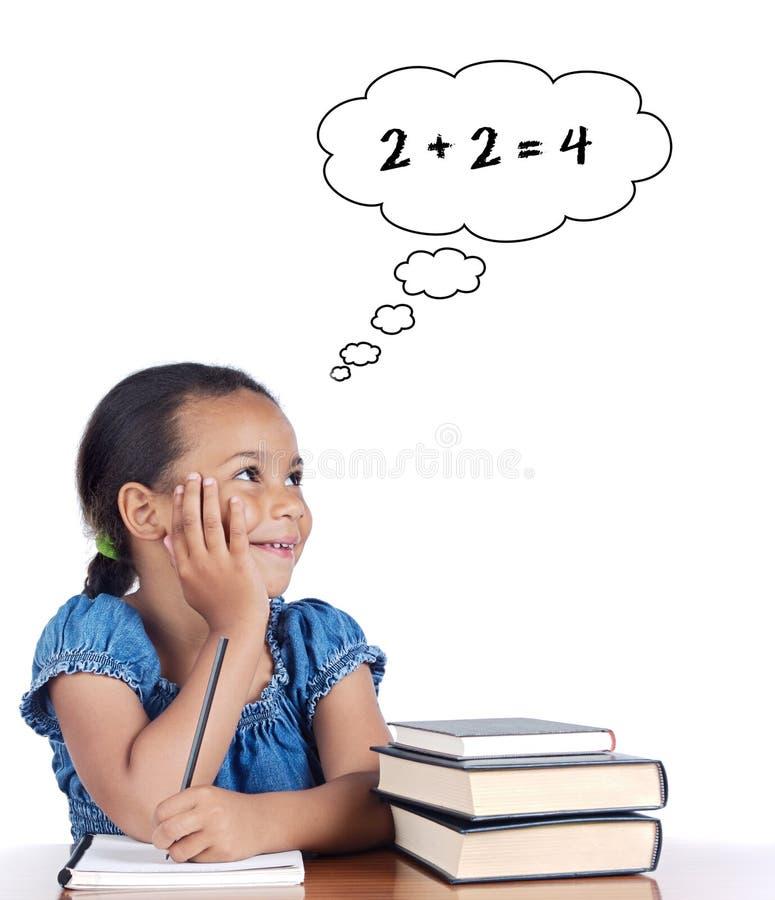 可爱女孩数学学习 免版税库存照片