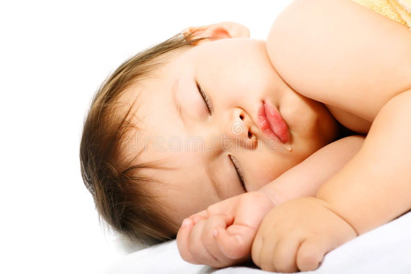 可爱婴孩休眠 免版税库存图片
