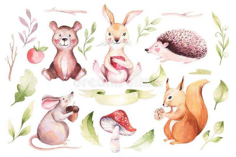 可爱宝贝动物托儿所老鼠、兔子和熊被隔绝的例证孩子的 水彩boho森林图画 向量例证