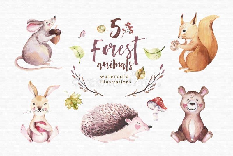 可爱宝贝动物托儿所老鼠,兔子和熊被隔绝的例证孩子的
