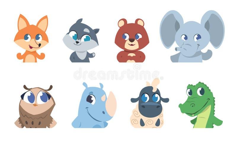 可爱宝贝动物 动画片宠物和狂放的森林动物面孔、滑稽的字符贺卡的和邀请飞行物 库存例证