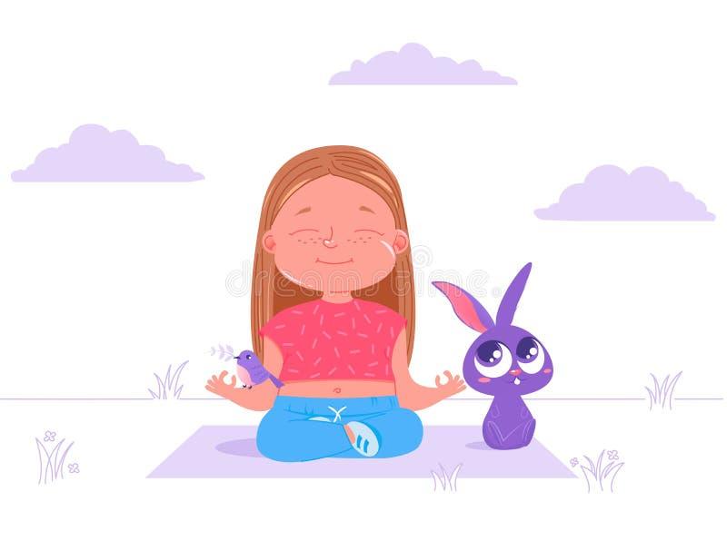 可爱宝贝女孩做着瑜伽室外在与朋友动物兔子和鸟的草 体育健康生活 基本的最普遍的asana 库存例证