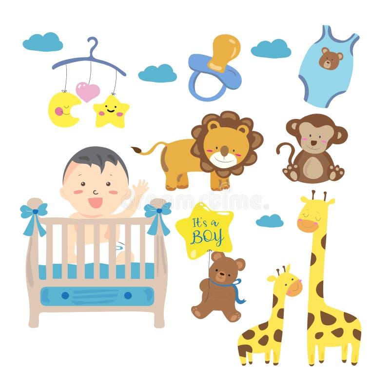 可爱宝贝或小孩男孩传染媒介例证clipart 皇族释放例证