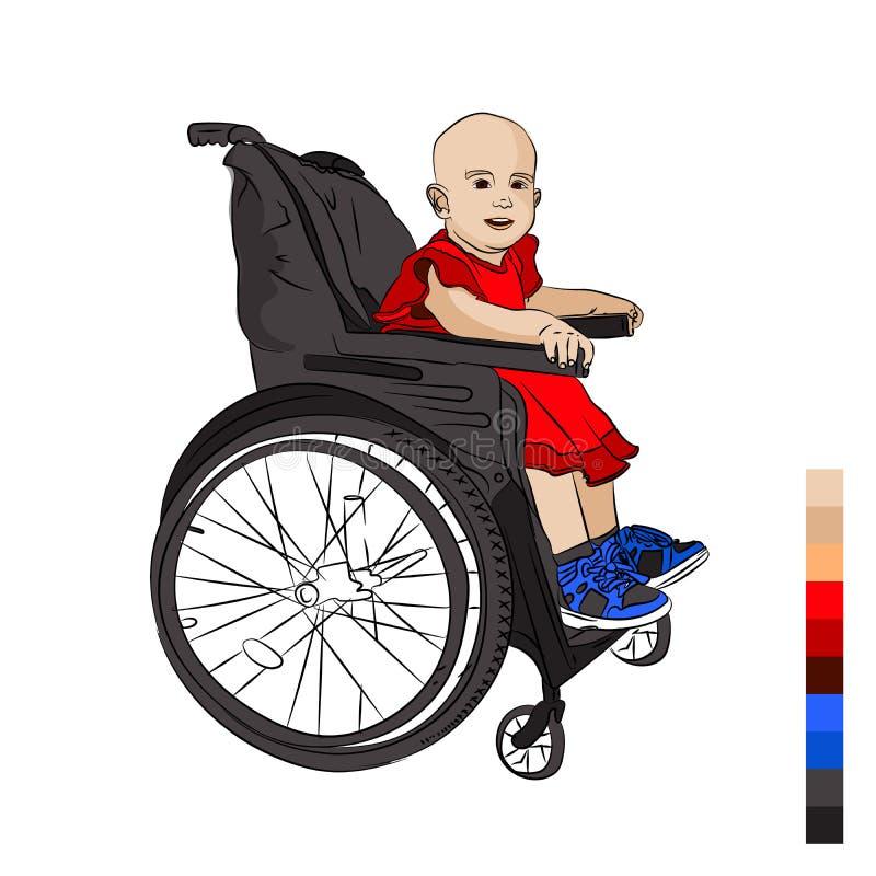 可爱宝贝是残疾 在轮椅 白血病 库存图片