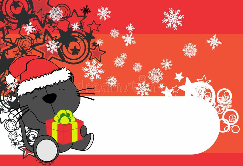 可爱宝贝猫动画片藏品礼物盒xmas背景 库存例证
