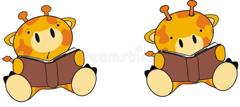 可爱宝贝长颈鹿动画片藏品书籍收藏集合 皇族释放例证