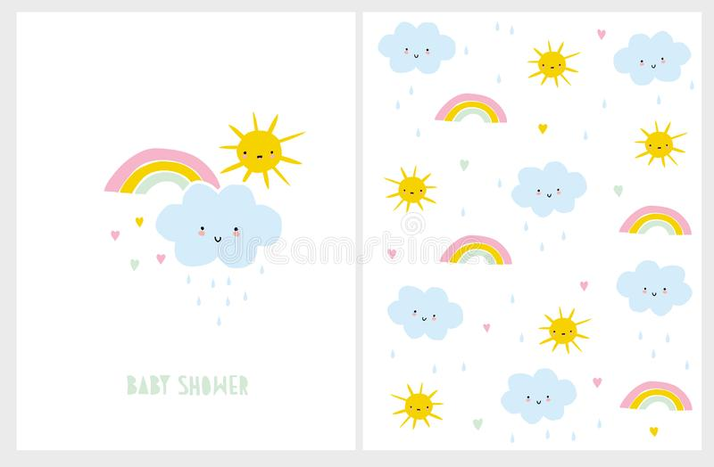 可爱宝贝阵雨传染媒介卡片和样式 婴儿样式Kawii设计 向量例证