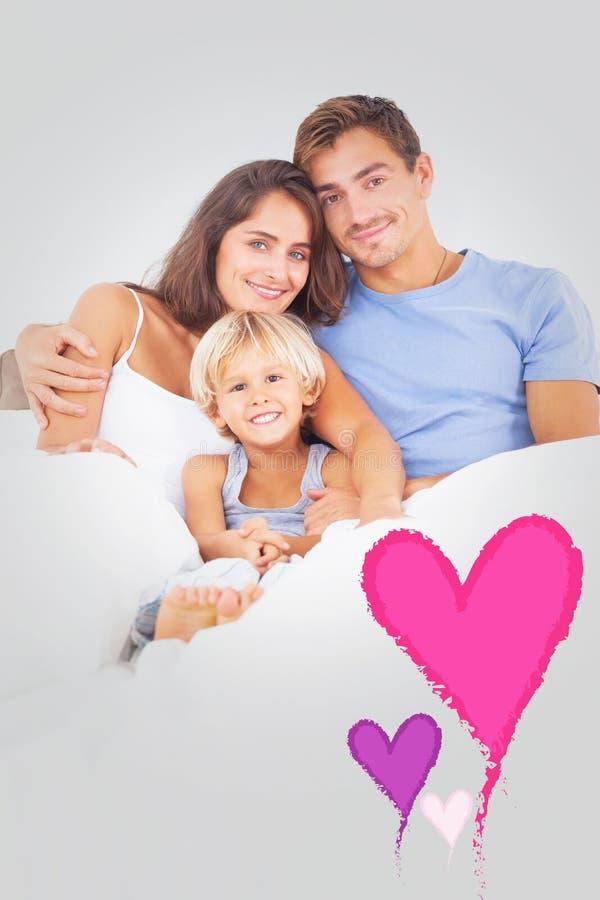 可爱家庭拥抱的综合图象 向量例证