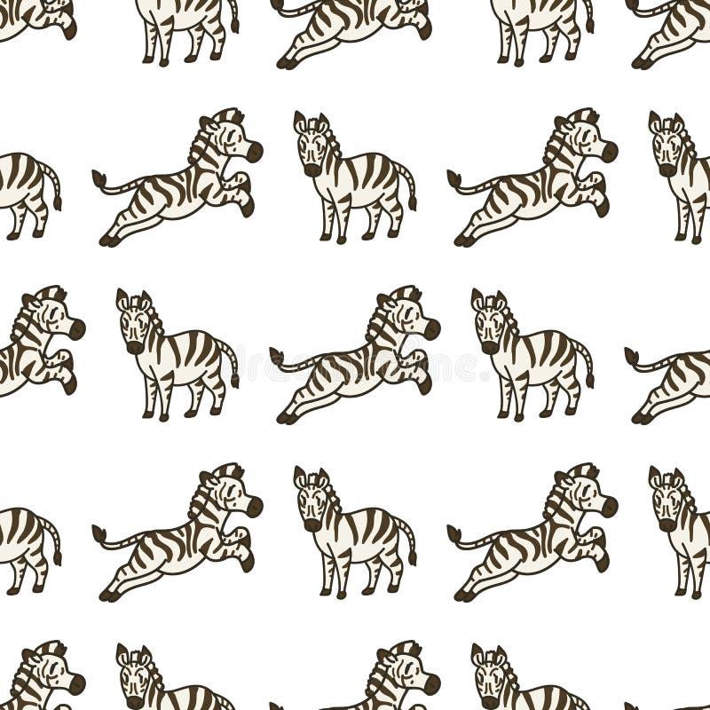 可爱斑马动画无缝矢量图 Hand Drawn African Savannah Animal Tile All Over Print For Wildlife Blog, Safari, 向量例证