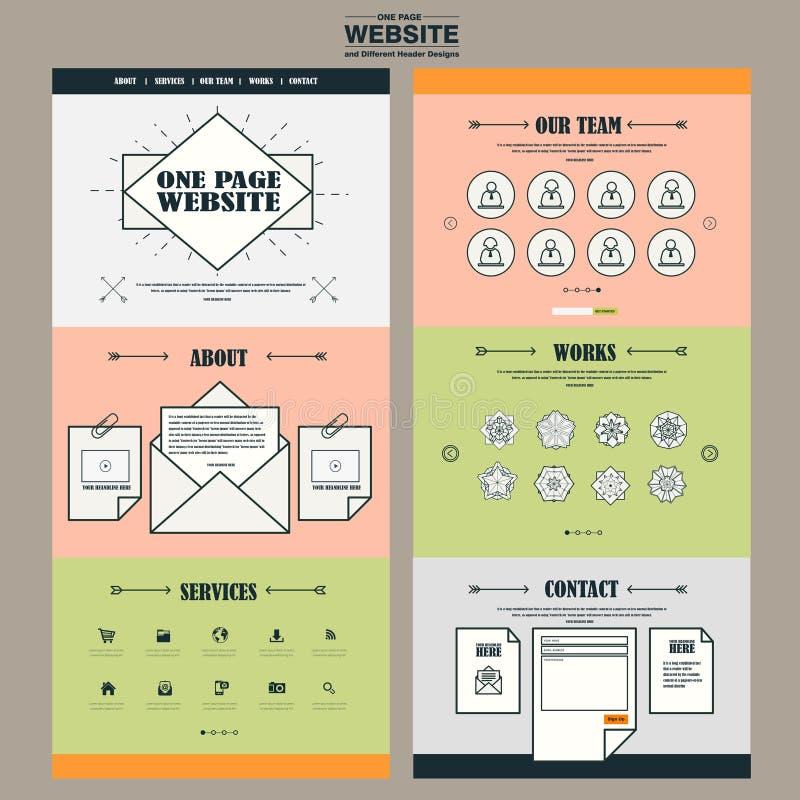 可爱的一个页网站模板设计 向量例证