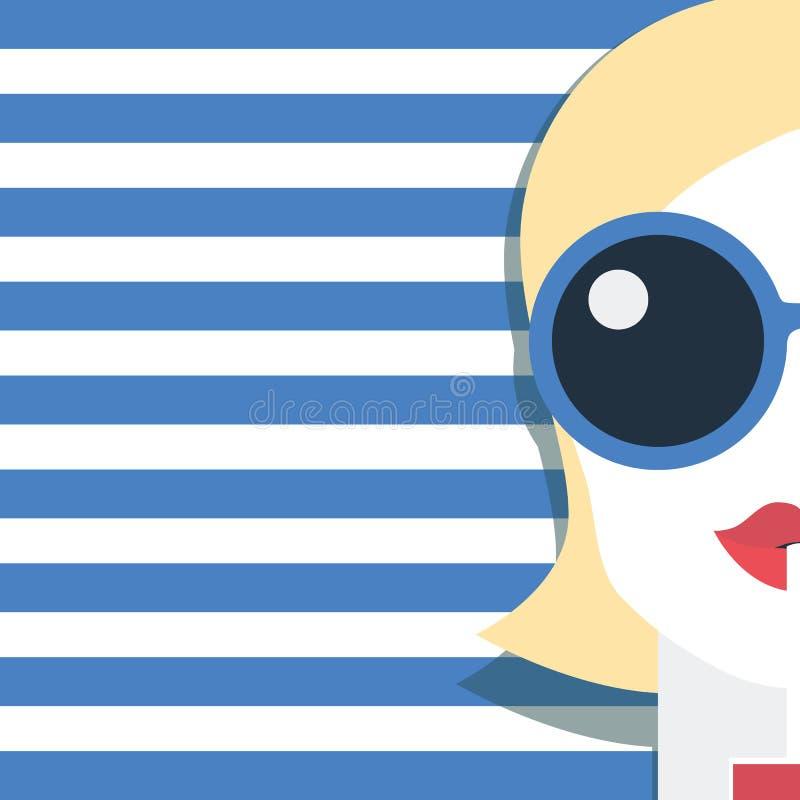 可爱的与秸杆传染媒介illustraiton的妇女饮用的鸡尾酒 夏天时尚海报模板或党飞行物 库存例证