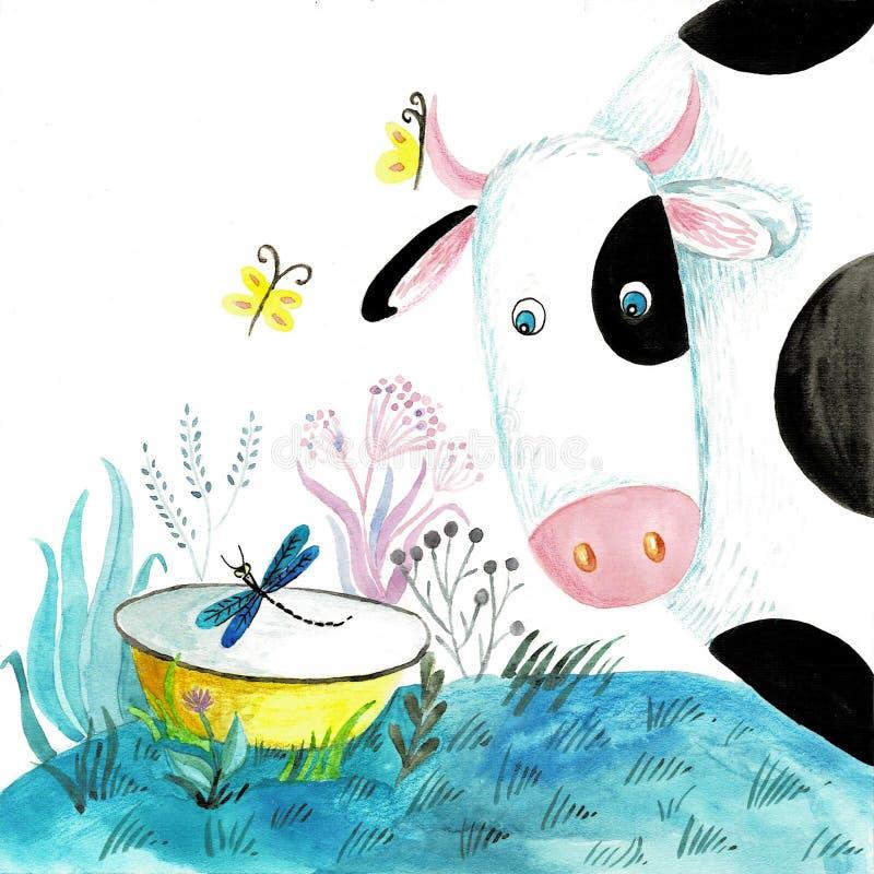 可爱的乡下,农场,村庄,吃草母牛,花,云彩,动画片样式,水彩例证 皇族释放例证