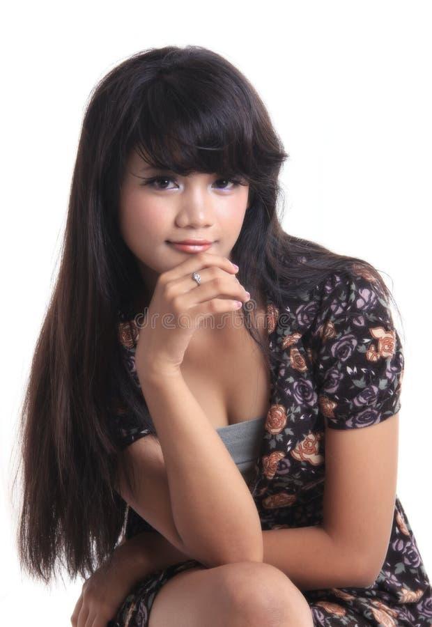 可爱的亚裔女孩 免版税库存照片
