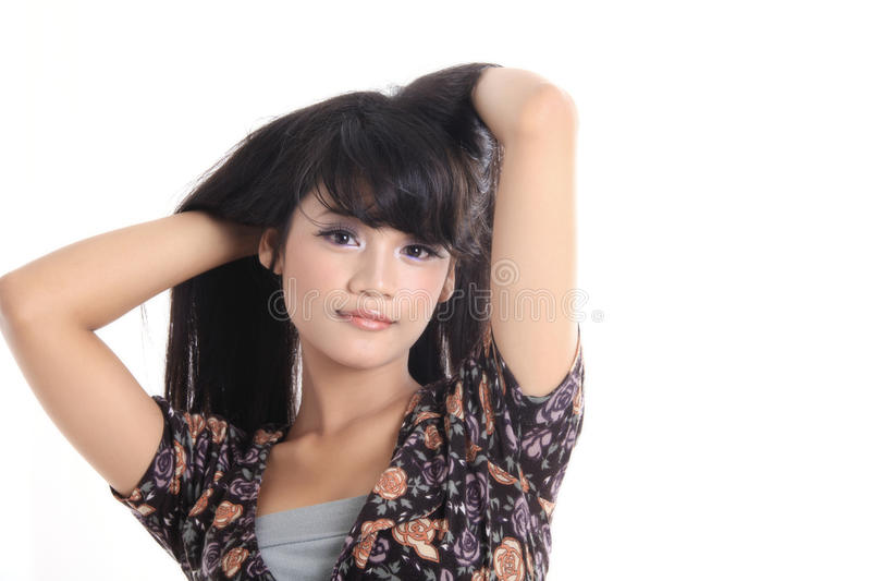 可爱的亚裔女孩 库存照片