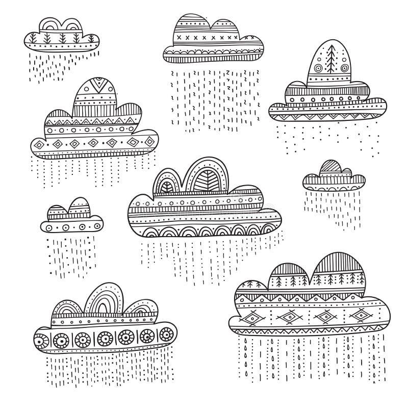 可爱的传染媒介设置了与在Boho样式的多雨云彩与装饰品 皇族释放例证