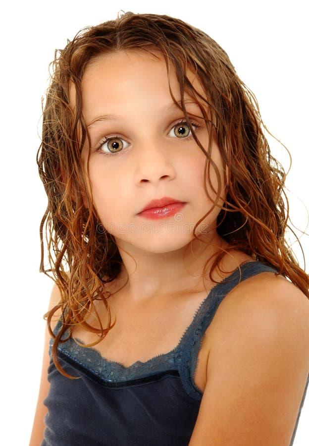 可爱的儿童疯狂的表达式女孩 库存图片