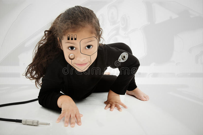 可爱的儿童靠机械装置维持生命的人幼稚园 免版税库存图片