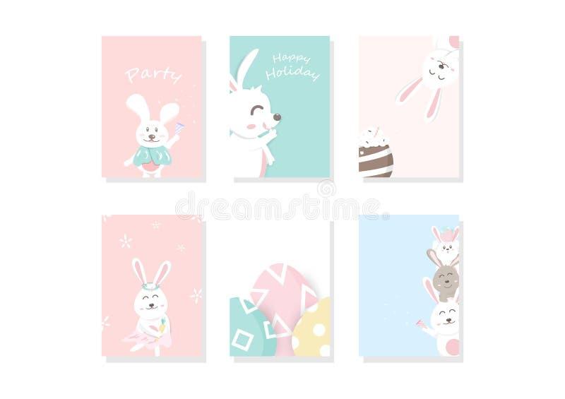 可爱的兔宝宝动画片,问候,盖子,模板,卡片,淡色逗人喜爱的庆祝,复活节天背景A4布局设计传染媒介 皇族释放例证