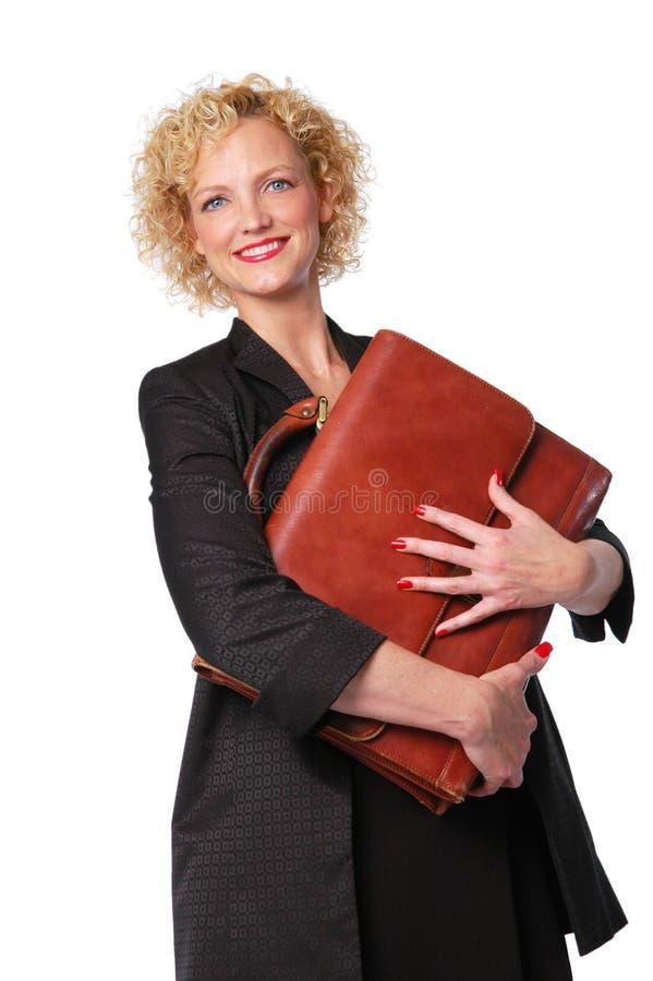 可爱的公文包女实业家 免版税图库摄影