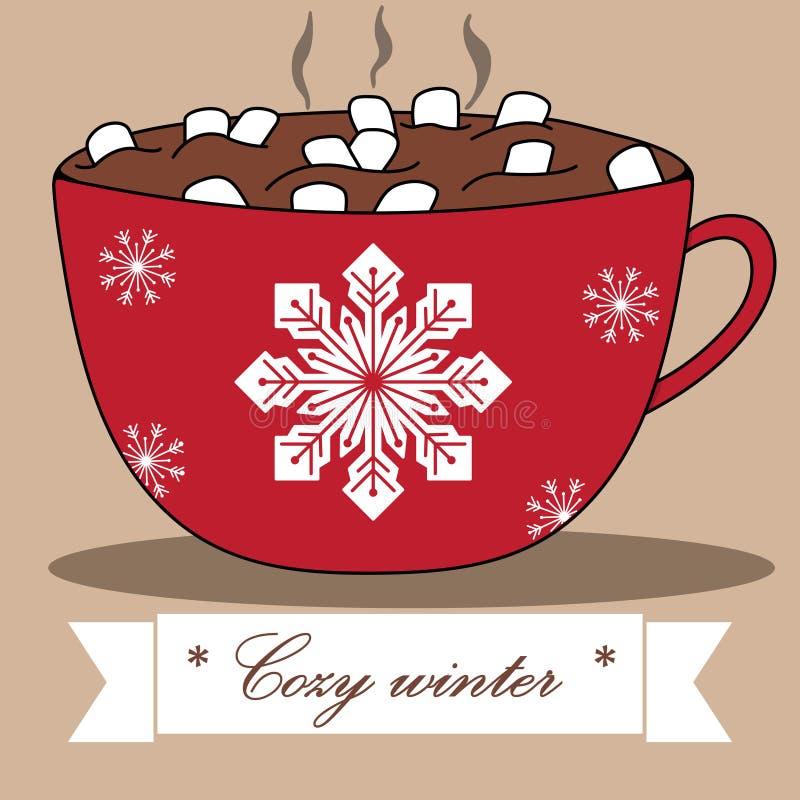 可爱的冬天卡片用可可粉和蛋白软糖 向量例证