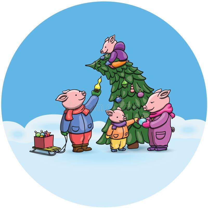 可爱的动画片猪,2019年农历新年的标志 庆祝的小猪快乐地,装饰圣诞树 中国猪 向量例证