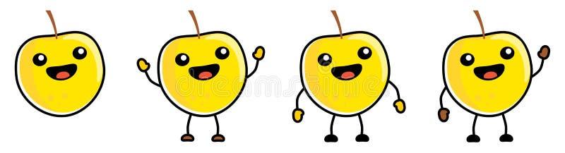 可爱的卡威式苹果水果图标,轮廓清晰,大眼睛,露着嘴笑 手举、下、挥的版本 向量例证