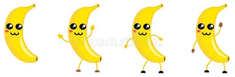 可爱的卡威式香蕉水果图标,大眼睛,动物如鼻子 手举、下、挥的版本 皇族释放例证