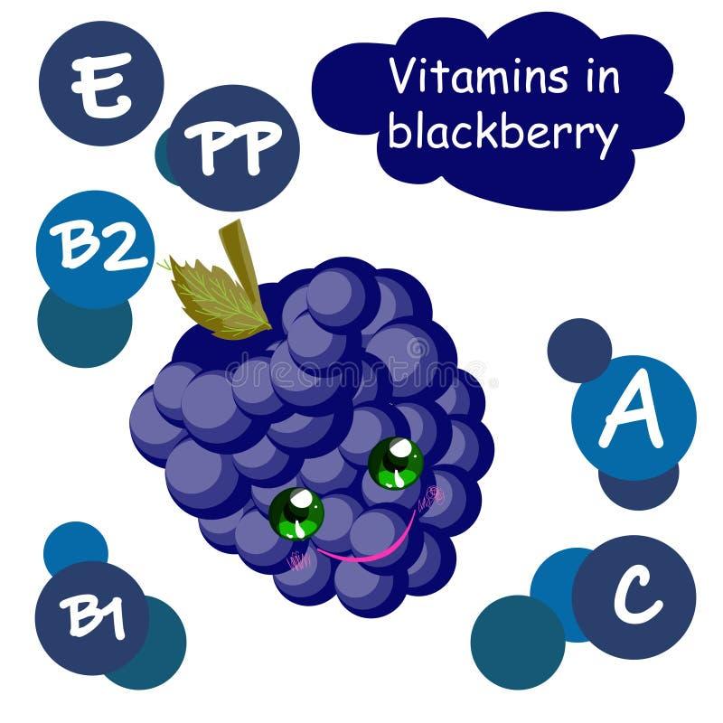 可爱的卡通水果角色 浆果中的维生素 黑莓 子代插图 库存例证