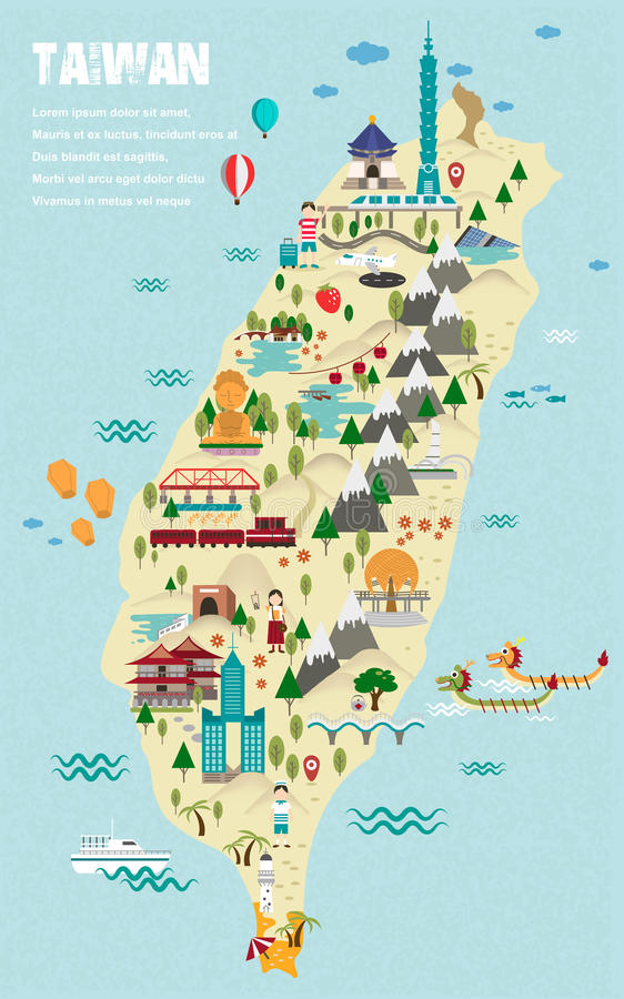 可爱的台湾旅行地图 库存例证