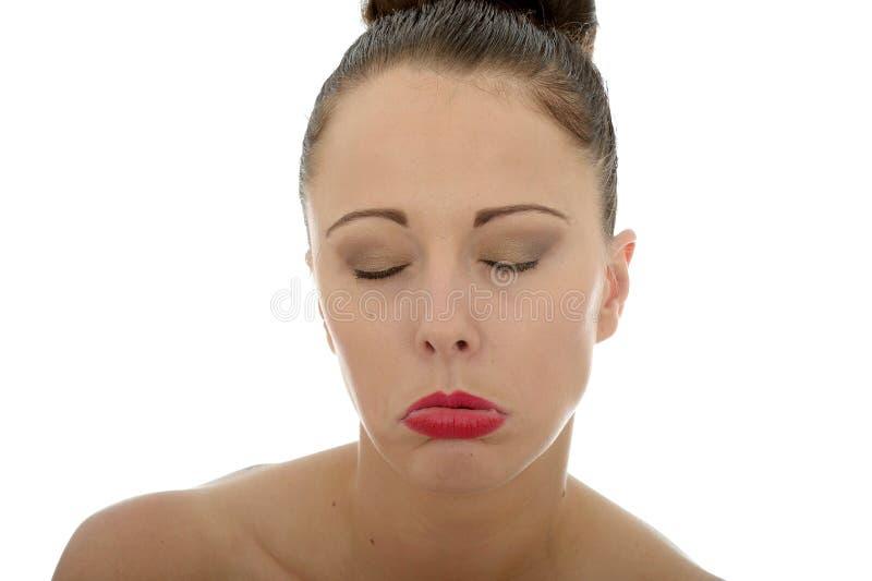 可爱的哀伤的凄惨的不快乐的年轻白种人妇女在她的Tw 库存照片