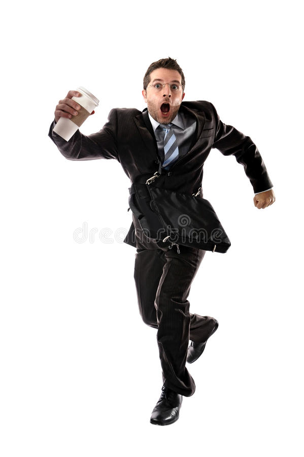 年轻可爱的商人与在重音拿走后跑的咖啡工作 库存照片