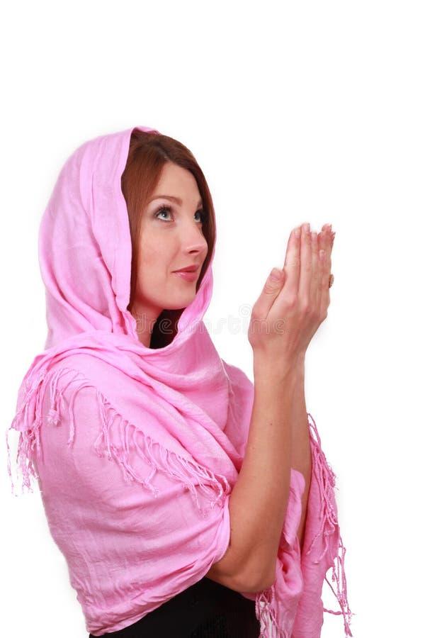 可爱的回教祈祷的妇女 图库摄影