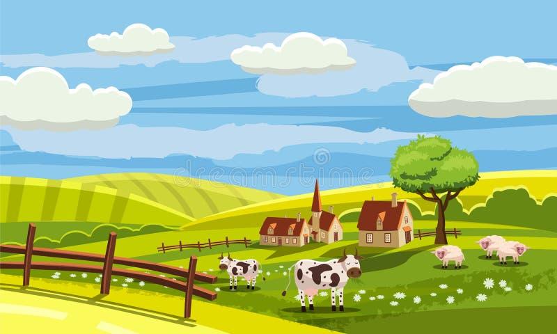 牧场_download 可爱的国家农村风景,吃草的母牛,农场,花,牧场地,动画片样式