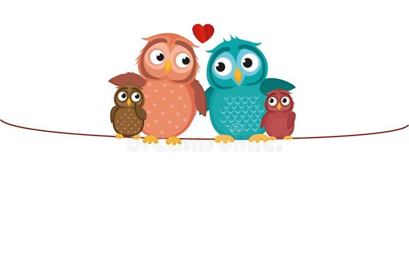 可爱的在绳索的夫妇坐的猫头鹰与儿童猫头鹰之子 家庭 向量例证