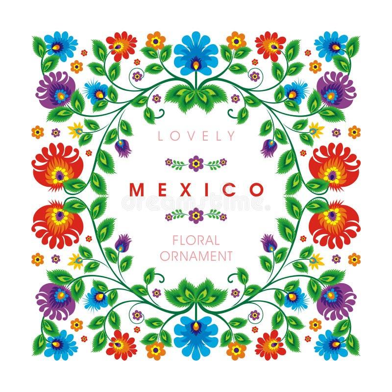 可爱的墨西哥种族花卉装饰设计 皇族释放例证