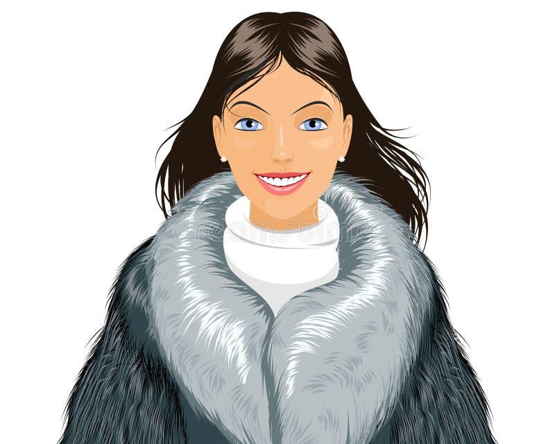 可爱的外套毛皮女孩 库存例证