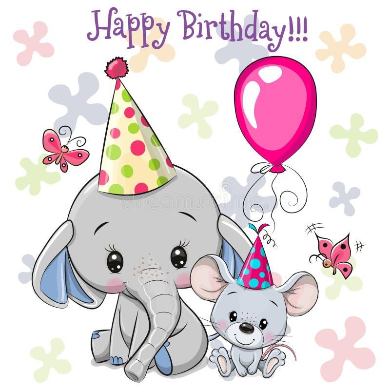 可爱的大象和老鼠,带着气球和骨头 向量例证
