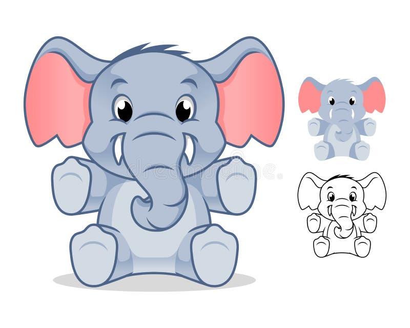可爱的大象玩偶卡通人物设计 库存例证