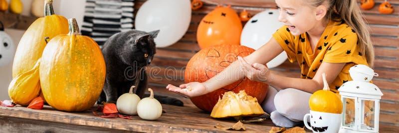 可爱的女孩坐使用用万圣夜南瓜和她的宠物猫的桌 万圣夜生活方式背景 免版税库存图片