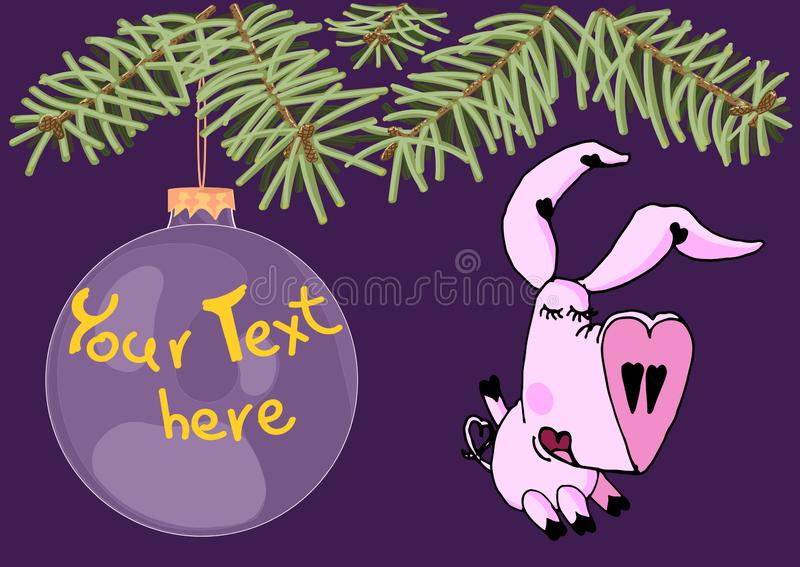 可爱的女孩猪在圣诞树下和有拷贝空间的垂悬的大圣诞节玩具 皇族释放例证