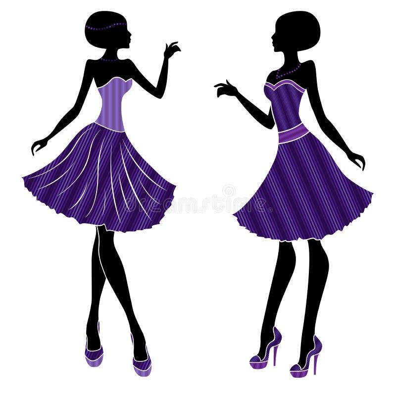 可爱的女孩短的礼服的和有长的脚跟的 皇族释放例证