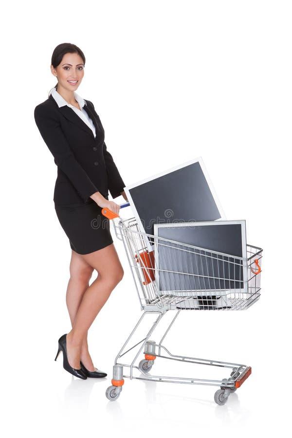 可爱的女实业家购物的Lcd监控程序 免版税库存图片
