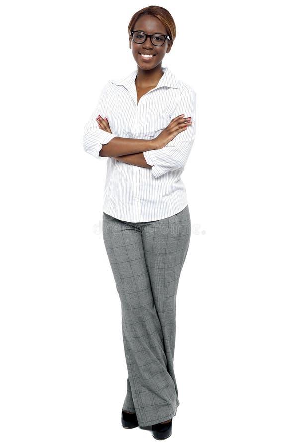 可爱的女性顾问全长射击  免版税图库摄影