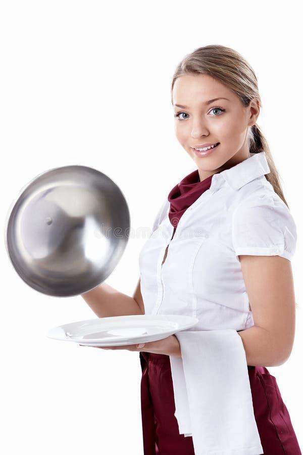 可爱的女服务员 免版税图库摄影