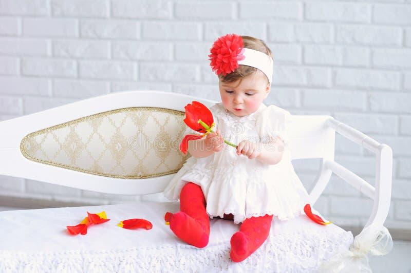 可爱的女婴纵向 图库摄影